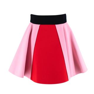 Fausto Puglisi Red & Pink Flared Mini Skirt