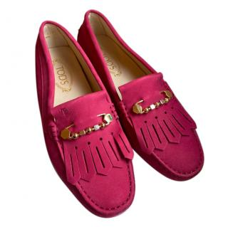 Tod's Pink Suede Fringed Loafers