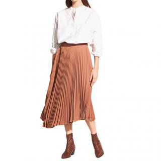 Vince Pleated Button Down Crepe Midi Skirt