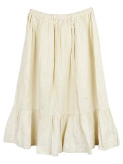 Bonpoint Ecru Pleated Embroidered Skirt