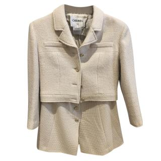 Chanel Cream Tweed A-line Skirt Suit