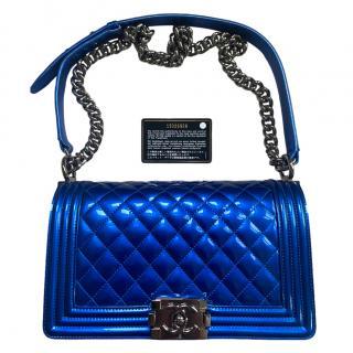 Chanel Patent Electric Blue Boy Bag