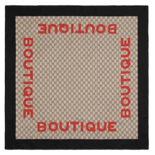 Gucci Boutique print monogram print silk scarf