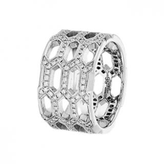 Bvlgari White Gold & Diamond Serpenti Seduttori Ring - Size 53
