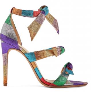 Alexandre Birman Lolita Bow Striped Lame Sandals