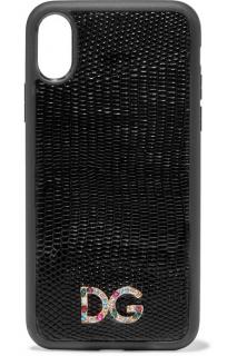 Dolce & Gabbana Crystal-embellished lizard-effect iPhone X/XS Case