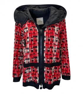 Moncer Red Tweed Hooded Down Coat