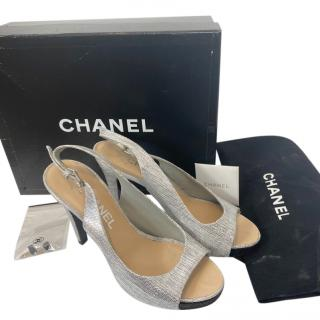 Chanel Brushed Silver Slingback Sandals