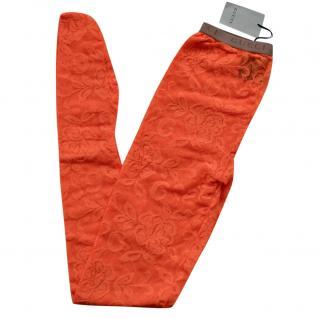 Gucci Orange Lace Runway Tights