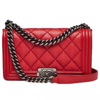 Chanel Red Stitch Quilt Calfskin Boy Bag