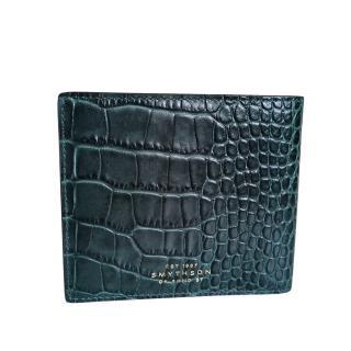 Smythson Green Croc Embossed Mara Wallet
