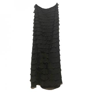 AKRIS Black Ruffled Maxi Skirt