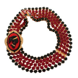 Miu Miu Gold Tone Red Crystal Embellished Collar Necklace