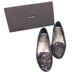 Dolce & Gabbana Black Sequin Ballerina Flats