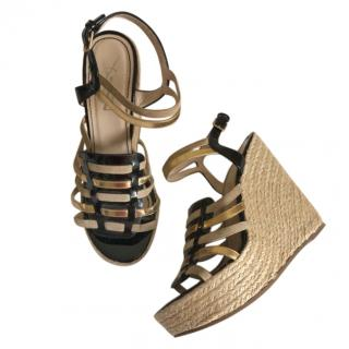 Yves Saint Laurent Strappy Raffia Wedges