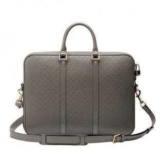 Gucci Grey Bright Diamante Leather Briefcase