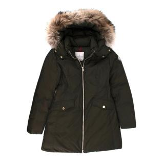 Moncler kids 16Y Green Fur Trimmed Down Coat