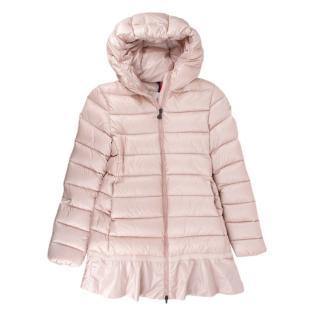 Moncler Kids 12Y Pink Ruffled Hem Down Hooded Coat