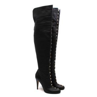 Valentino Black Leather Rockstud OTK Boots