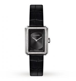 Chanel BOY-FRIEND Diamond Watch with Black Alligator Strap