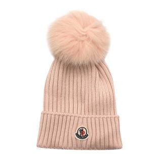 Moncler Pink Wool & Fox Fur Ribbed Knit Beanie