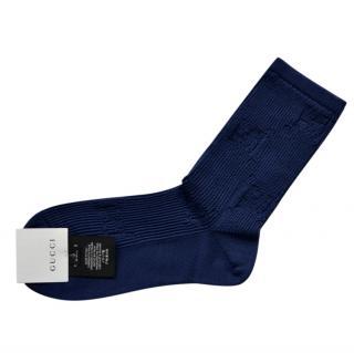 Gucci GG logo Navy Cotton Socks