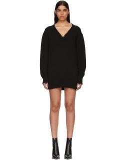 T By Alexander Wang Distressed Black Oversize Jumper
