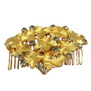 Carolina Chammas Handmade Crystal Embellished Gold Tone Hair Comb