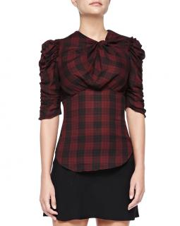 Isabel Marant Etoile Red & Black Twist Check Top