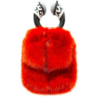 Tom Ford Orange Dyed Mink Fur Top Handle Bag