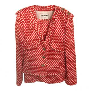 Chanel Red & White Woven Bamboo/Cotton Blend Skirt Suit