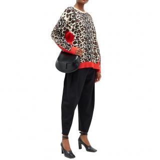 Stella McCartney Leopard Print Jacquard Oversize Jumper