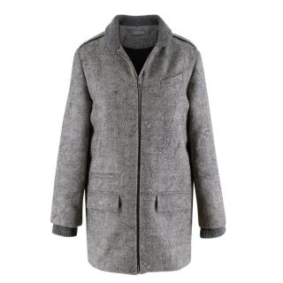Dior Grey Wool Knit Distressed Embroidered Kids Coat