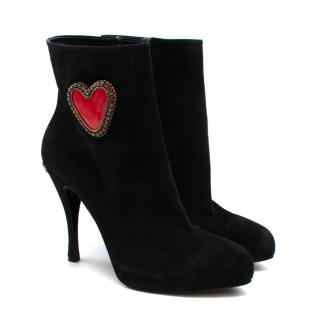 Roger Vivier Black Suede Heart Embroidered Ankle Boots