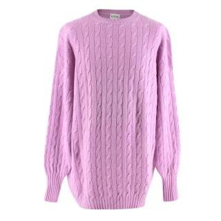 N.Peal Lilac Cable Knit Vintage Oversized Cashmere Sweater