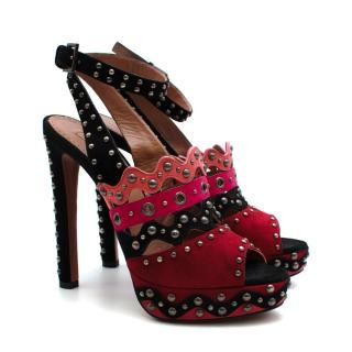 Alaia Red Pink & Black Suede Studded Platform Sandals