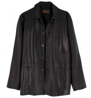 Loro Piana Dark Chocolate Brown Leather Jacket