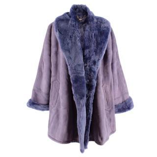 Loewe Lavender Shearling Lined Suede Vintage Oversize Coat