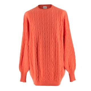 N.Peal Orange Cable Knit Vintage Oversized Cashmere Sweater