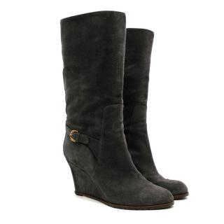 Sergio Rossi Grey Suede Wedge Boots