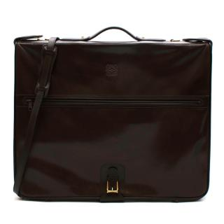 Loewe Brown Vintage Leather Garment Case With 2 Hangers