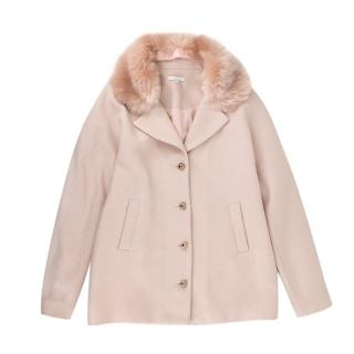Chloe Kids 14Y Pink Wool Blend Faux Fur Trimmed Coat