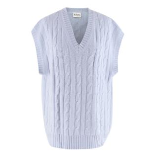 N.Peal Blue Cable Knit Vintage Cashmere Vest