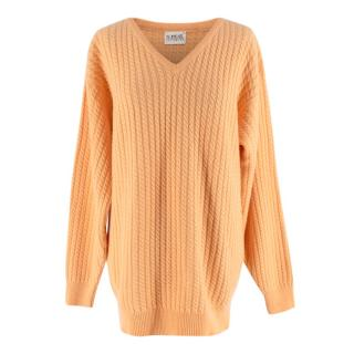 N.Peal Coral Cable Knit Vintage V-neck Cashmere Sweater