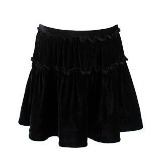 Alberta Ferretti Black Velvet Ruffled Mini Skirt