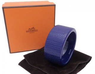 Hermes Blue Lacquered Textured Wooden Bangle