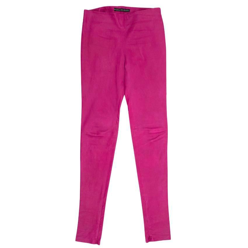 Balenciaga Purple Leather Trousers