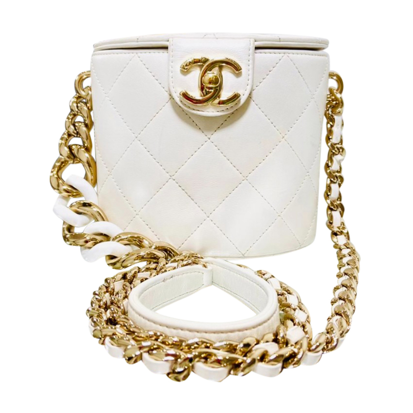 Chanel White Quilted Leather Vanity Crossbody Bag