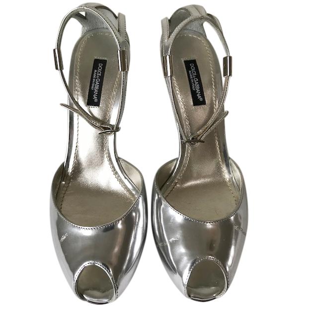 Dolce & Gabbana Mirrored Silver Lami Sandals