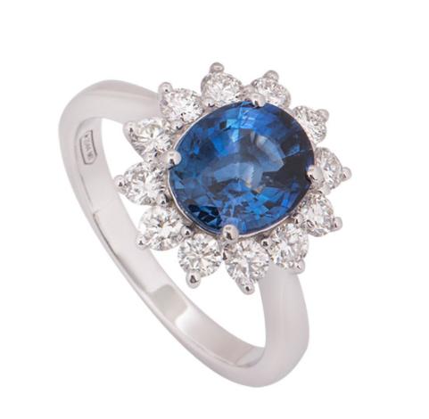 Bespoke White Gold Sapphire & Diamond Ring